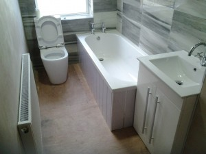 Fitted a Malone bath & 600 Purity floor stand 2 door unit. Kross bath taps & Kross Mono basin taps.