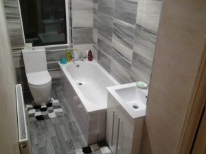 Bathroom complete with flooring also supplied & fitted by K2 Bathrooms.